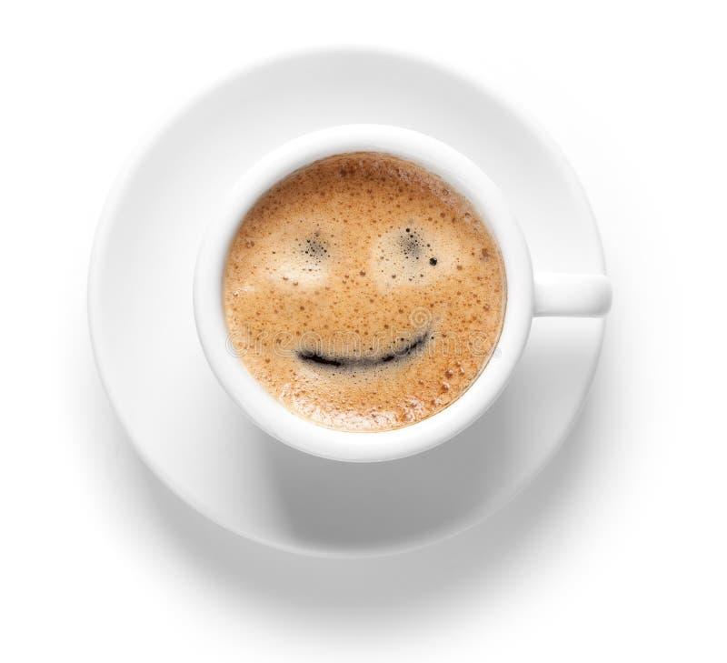 Tazza del caffè espresso con il sorriso fotografia stock libera da diritti