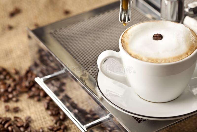 Tazza del caffè espresso in pieno con i chicchi di caffè fotografie stock
