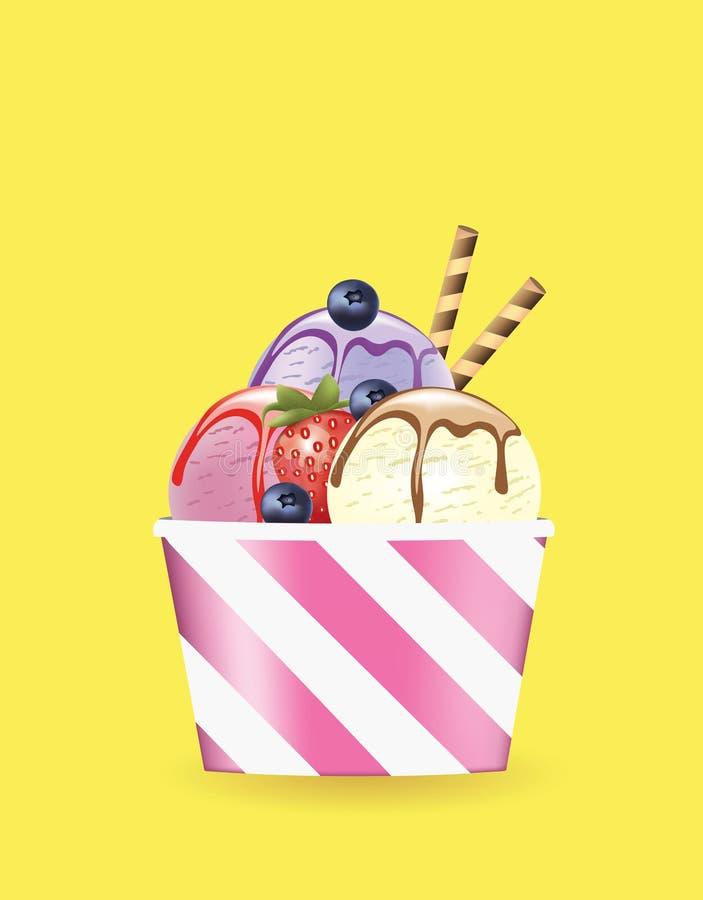 Tazza del gelato con la fragola ed il mirtillo illustrazione vettoriale