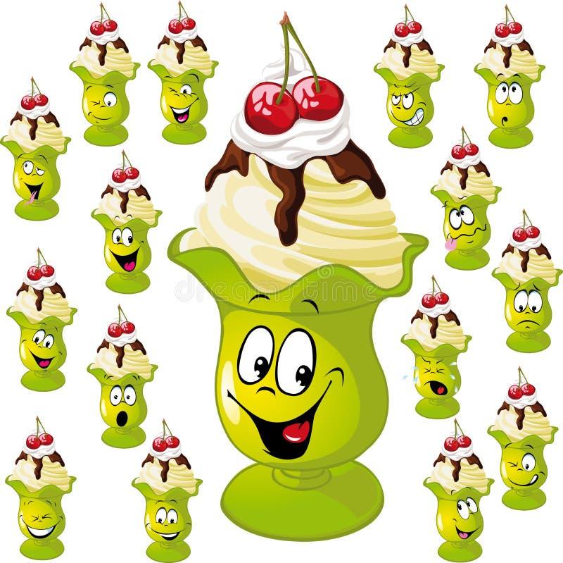 Tazza del gelato con molte espressioni facciali royalty illustrazione gratis
