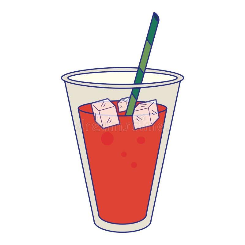 Tazza del succo con i cubetti di ghiaccio ed il fumetto della paglia royalty illustrazione gratis