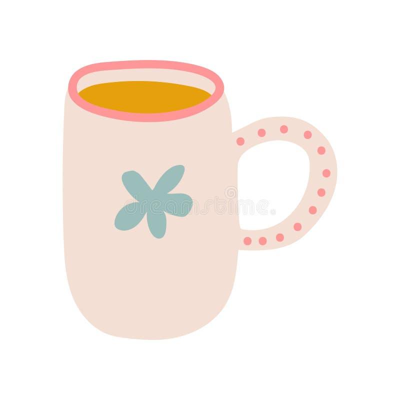 Tazza del tè, illustrazione ceramica sveglia di vettore delle pentole delle terrecotte royalty illustrazione gratis