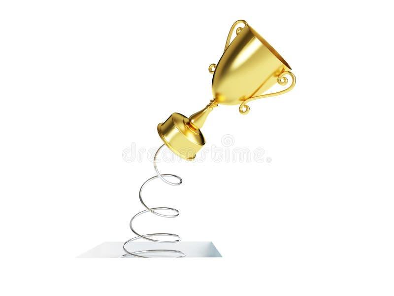 Tazza del trofeo dell'oro della primavera, illustrazioni 3d illustrazione vettoriale
