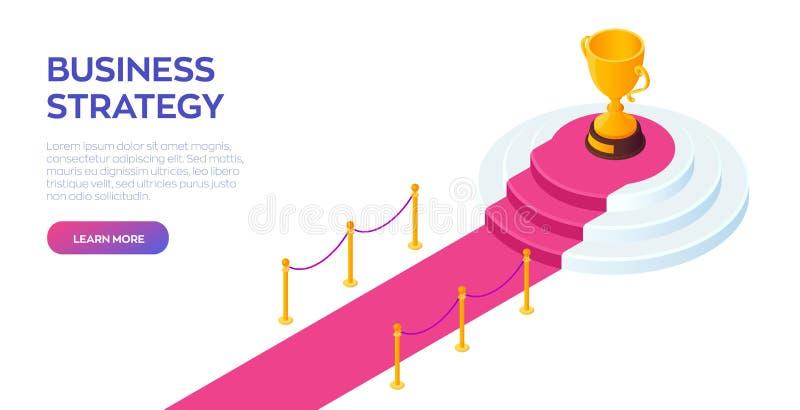 Tazza del trofeo dell'oro del vincitore sul piedistallo rotondo Tappeto rosso al podio del vincitore Strada a successo Concetto d royalty illustrazione gratis