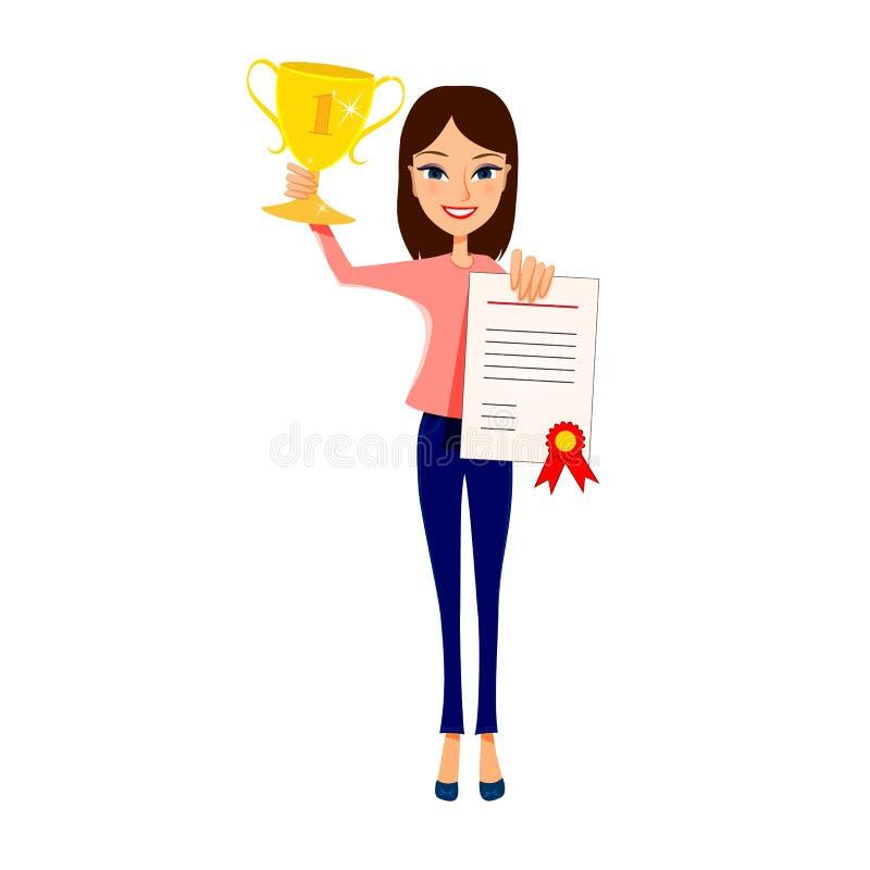 Tazza del trofeo della tenuta della ragazza e documento felici del certificato Illustrazione di vettore royalty illustrazione gratis