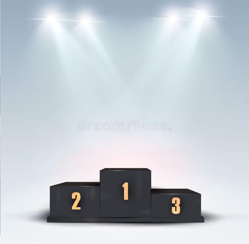 Tazza del trofeo sul podio premiato In primo luogo, secondo e terzo premio del posto Elementi di Infographic dei vincitori o dei  illustrazione di stock