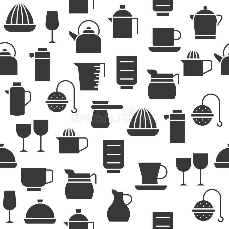 Tazza dell'articolo da cucina della siluetta, brocca, miscelatore del succo e vetro, seamle illustrazione vettoriale