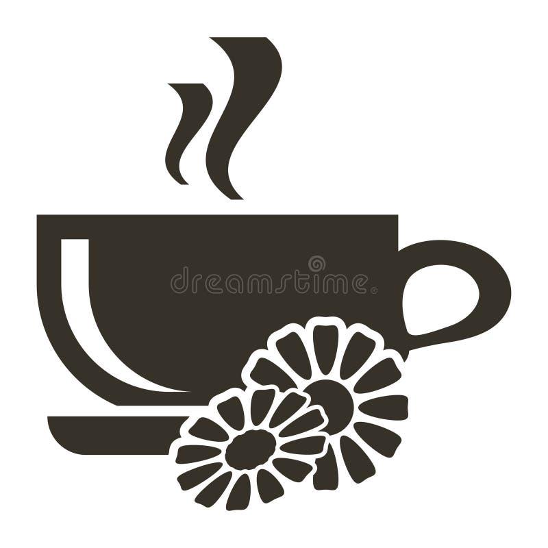 Tazza dell'icona di tè caldo con sapore della camomilla Logo nello stile piano illustrazione di stock