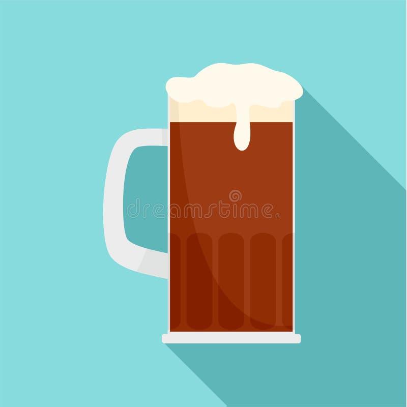 Tazza dell'icona marrone della birra, stile piano royalty illustrazione gratis