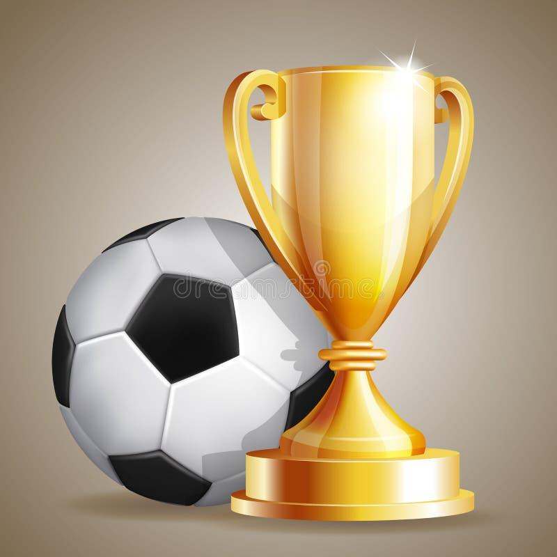 Tazza dell'oro con una palla di calcio royalty illustrazione gratis