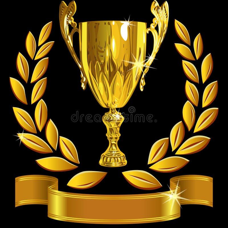 Tazza dell'oro di vettore, corona dell'alloro e nastro di conquista royalty illustrazione gratis