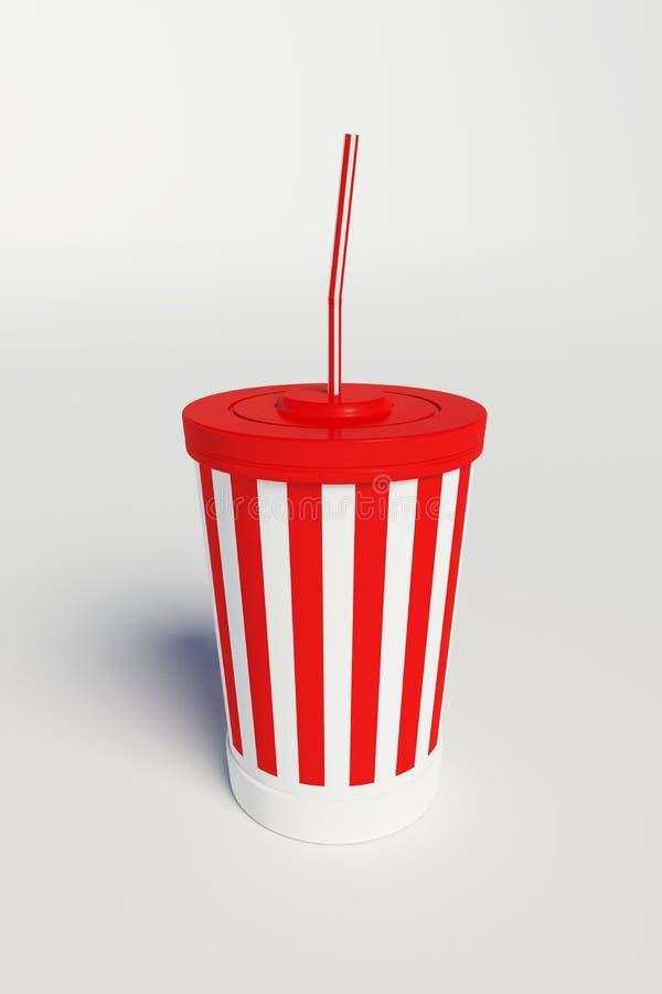 Tazza della cola del cinema con le bande e la paglia illustrazione di stock