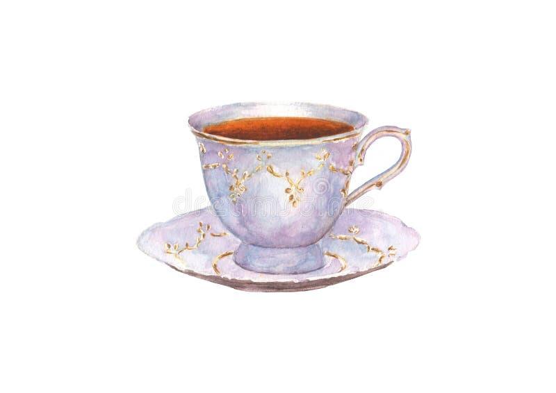 Tazza della porcellana dell'acquerello di tè e piattino isolato sul BAC bianco illustrazione di stock
