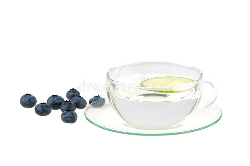 Tazza di acqua con il limone ed i huckleberries immagini stock libere da diritti