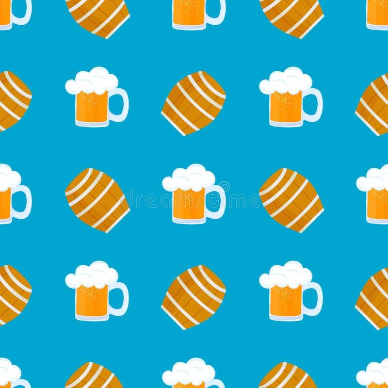 Tazza di birra con gomma piuma Barilotto di legno per vino Pasticcerie tedesche tradizionali Alimento nazionale a Oktoberfest sen royalty illustrazione gratis