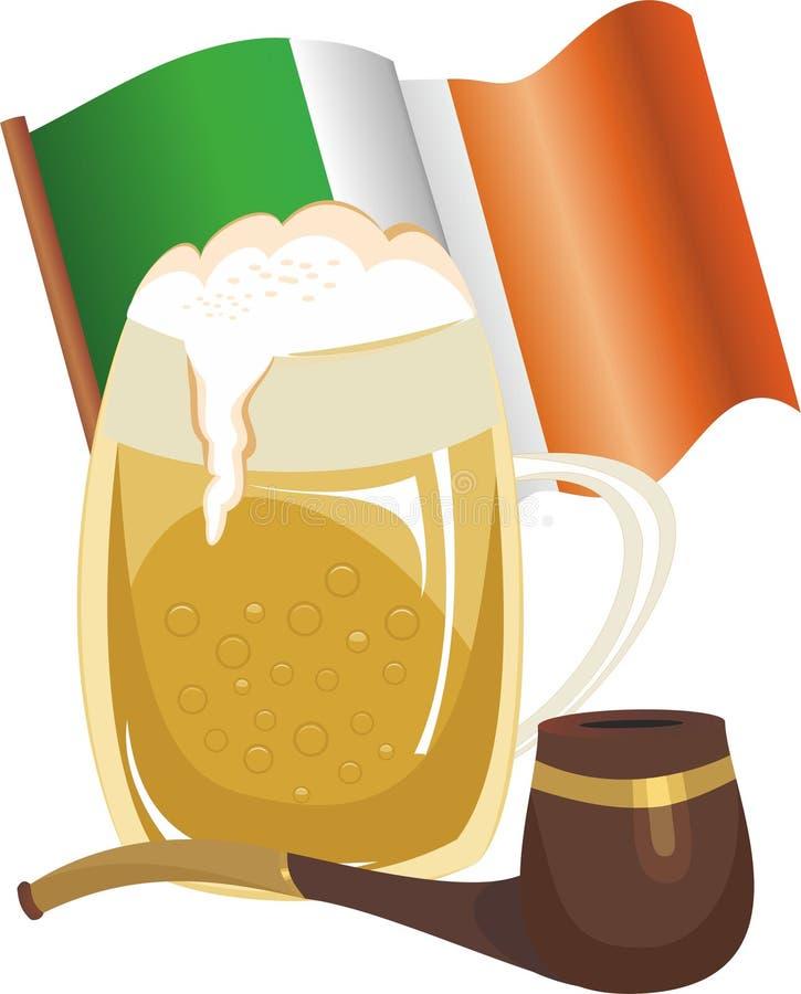 Tazza di birra, del tubo e della bandiera dell'Irlandese illustrazione di stock