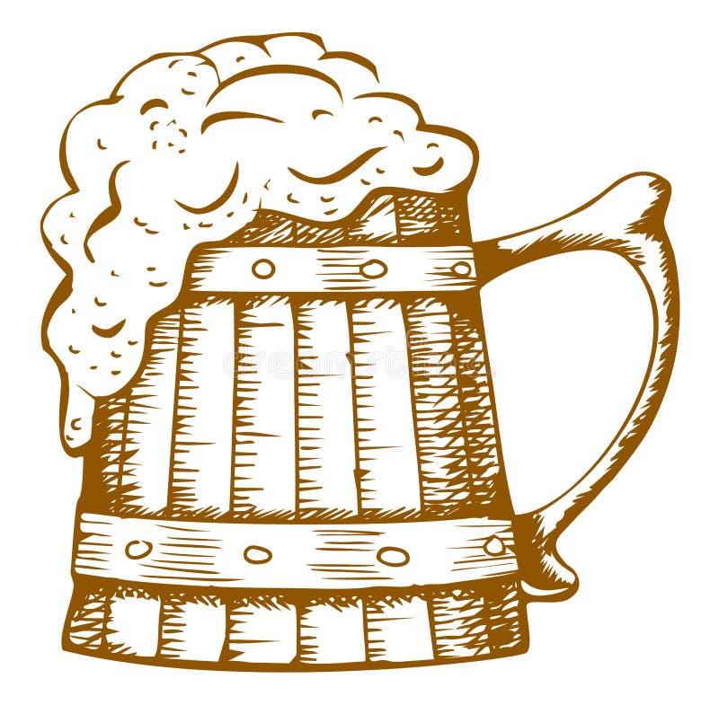 Tazza di birra di legno illustrazione di stock