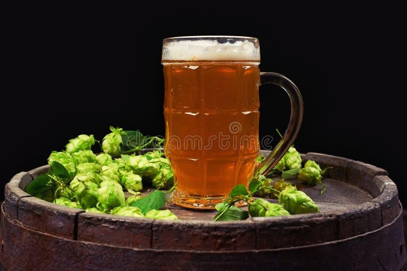 Tazza di birra e del luppolo su un vecchio barilotto su un fondo scuro immagini stock