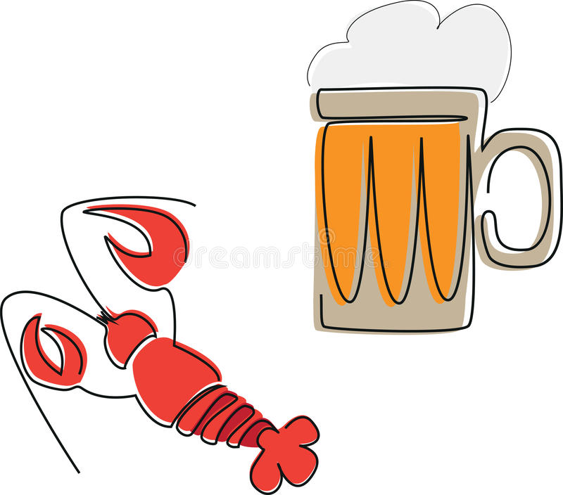 Tazza di birra e di un'aragosta fotografia stock