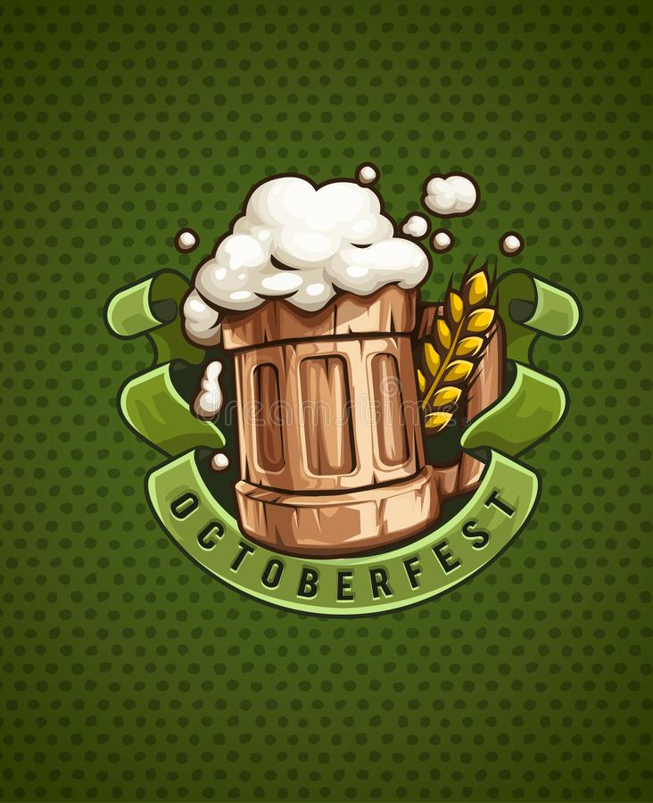 Tazza di birra di legno con e schiuma illustrazione vettoriale