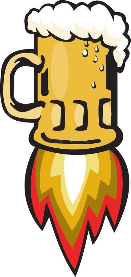 Tazza di birra Rocket Ship Blasting Retro illustrazione di stock
