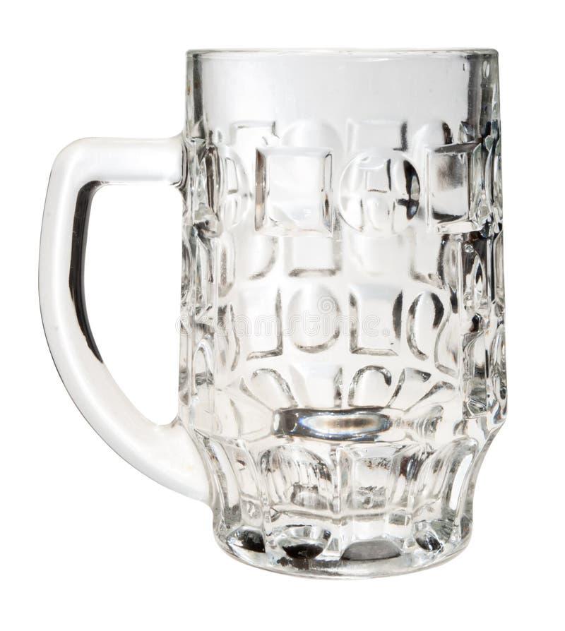 Tazza di birra vuota, isolata, immagini stock