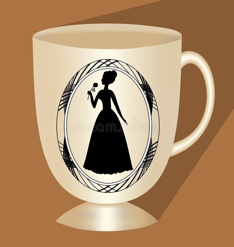Tazza di caffè beige nostalgica con la siluetta vittoriana di signora, ceramica tradizionale, tazza 3d con ombra lunga su fondo m illustrazione di stock
