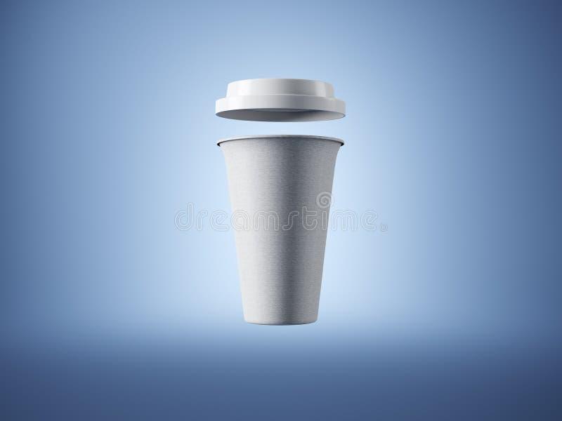 Tazza di caffè bianca del mestiere sui precedenti blu fotografia stock libera da diritti