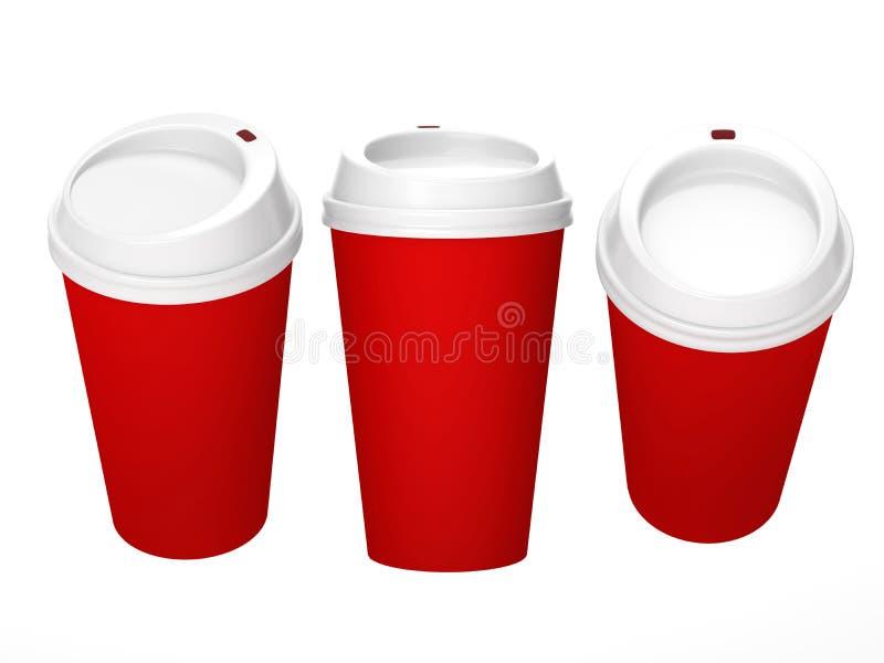 Tazza di caffè in bianco rossa con il cappuccio bianco, percorso di ritaglio incluso immagini stock libere da diritti