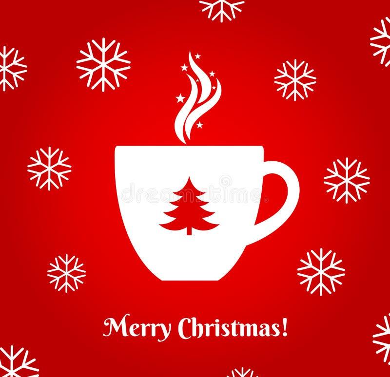 Tazza di caffè calda di Natale su fondo rosso illustrazione vettoriale