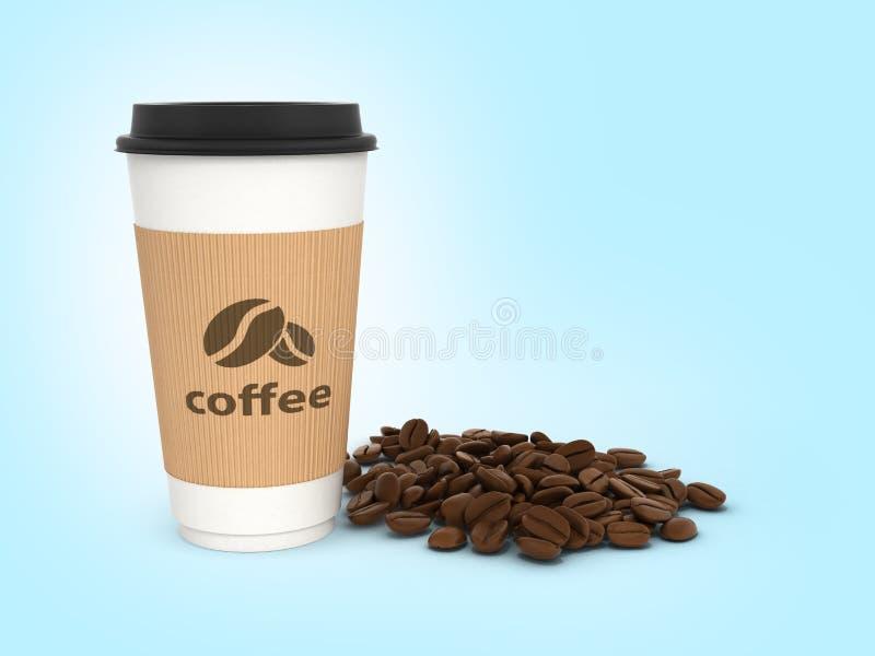 Tazza di caffè di carta con i chicchi di caffè sul fondo blu 3d di pendenza illustrazione di stock