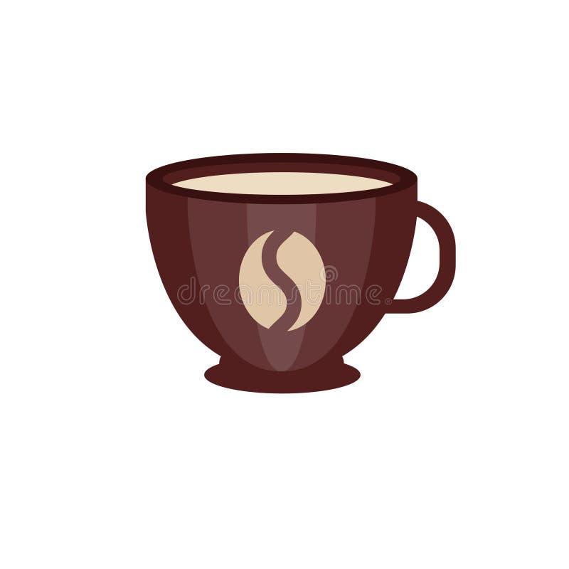 Tazza di caffè ceramica di Brown con l'illustrazione di vettore di logo del chicco di caffè illustrazione vettoriale