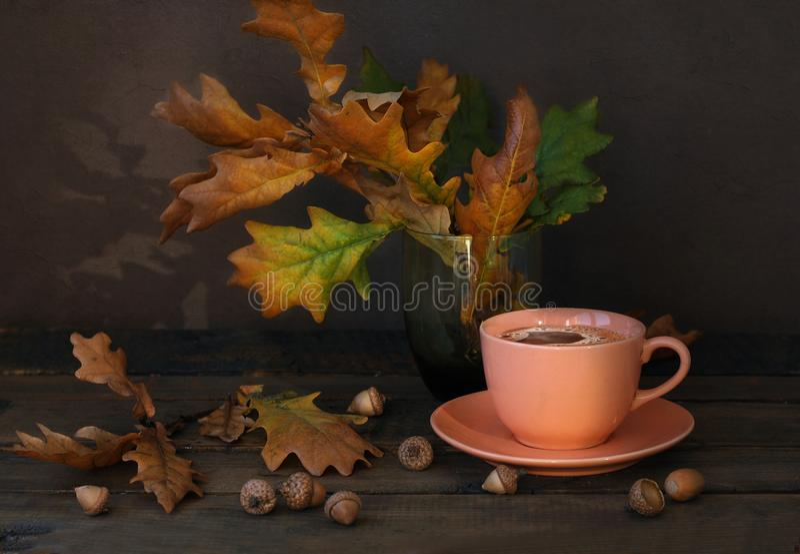 Tazza di caffè ceramica rosa, foglie asciutte della quercia e ghiande sulla vecchia tavola di legno fotografia stock libera da diritti