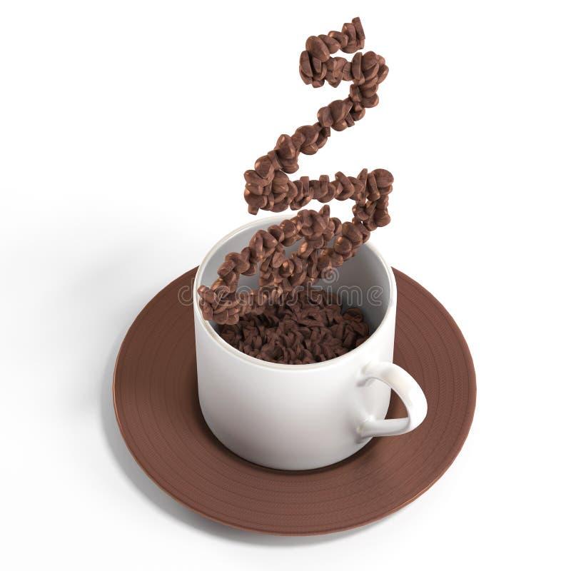 Tazza di caffè con fumo fatto della rappresentazione del chicco di caffè 3d fotografie stock libere da diritti