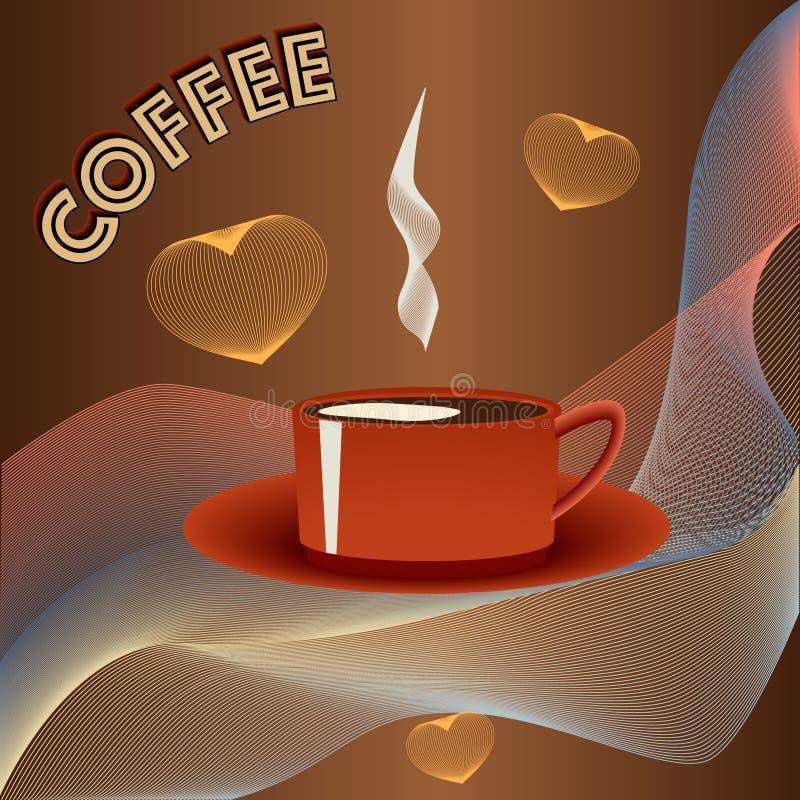 Tazza di caffè con i cervi maschi su backgraound astratto immagine stock