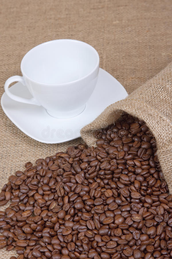 Tazza di caffè con i fagioli fotografia stock libera da diritti