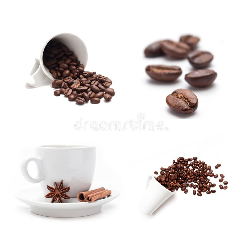 Tazza di caffè con il collage di concetto dei fagioli immagini stock