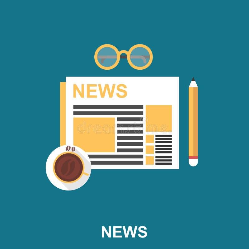 Tazza di caffè con il giornale, la matita e gli occhiali sulla Tabella royalty illustrazione gratis
