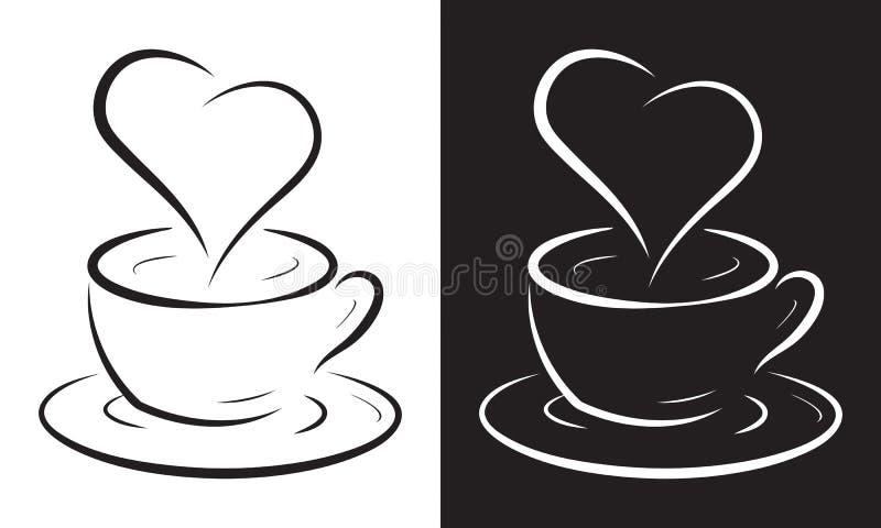 Tazza di caffè con il simbolo del cuore royalty illustrazione gratis