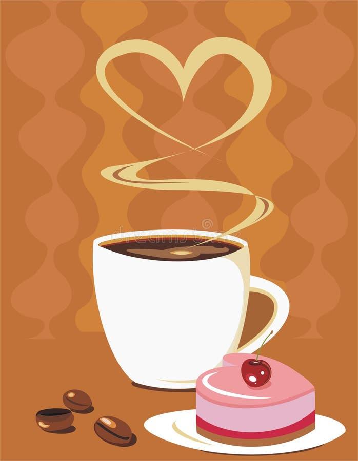 Tazza di caffè con la torta di figura del cuore illustrazione di stock