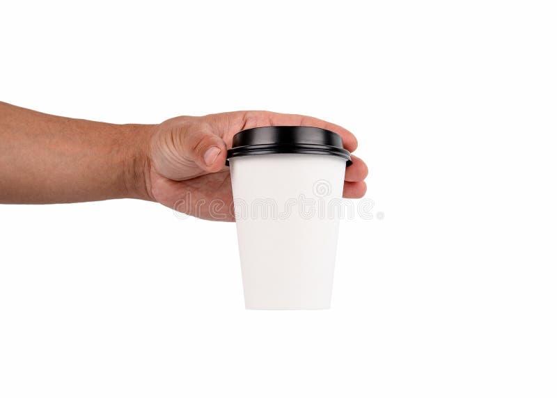 Tazza di caffè con lo spazio della copia su fondo bianco fotografie stock