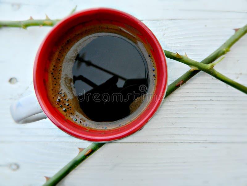 Tazza di caffè con una spina rosa su un fondo rustico bianco immagine stock