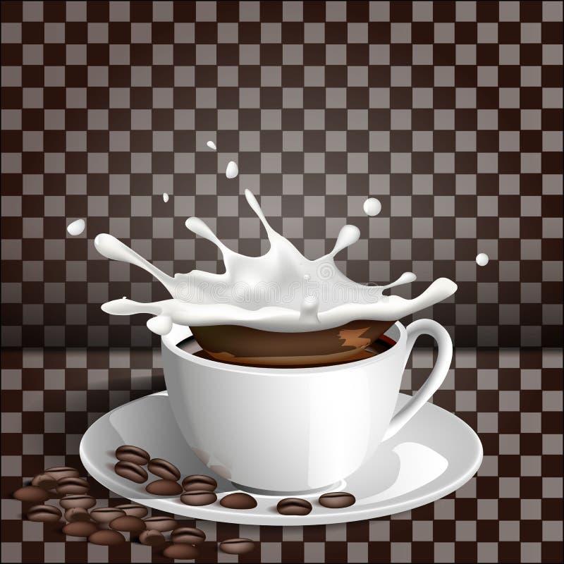 Tazza di caffè con una spruzzata di latte su un fondo trasparente royalty illustrazione gratis
