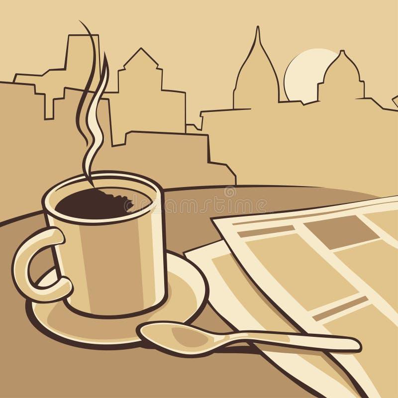 Tazza di caffè e carta di notizie sulla tavola Illustrazione monocromatica d'annata di vettore Schizzo disegnato a mano per il ma illustrazione vettoriale