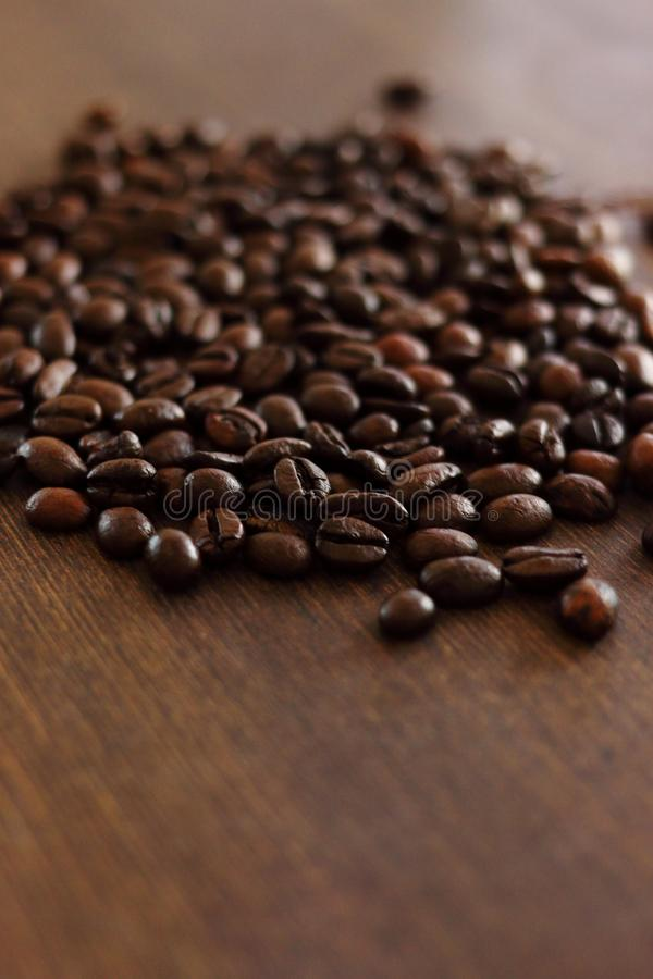 Tazza di caffè e chicchi di caffè su legno scuro immagini stock libere da diritti