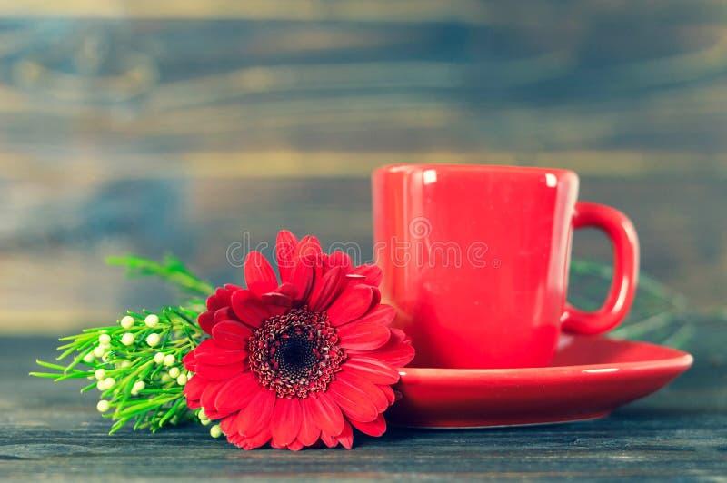 Tazza di caffè e margherita rossa della gerbera sulla tavola di legno immagini stock