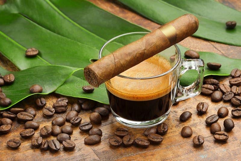 Tazza di caffè e sigaro, fotografia stock
