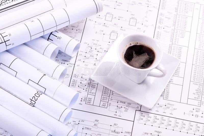 Tazza di caffè ed illustrazione immagini stock libere da diritti