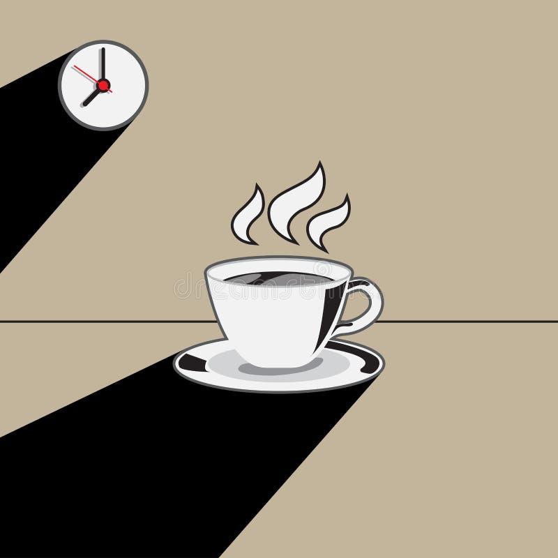 Tazza di caffè ed orologio con l'illustrazione lunga dell'ombra illustrazione vettoriale