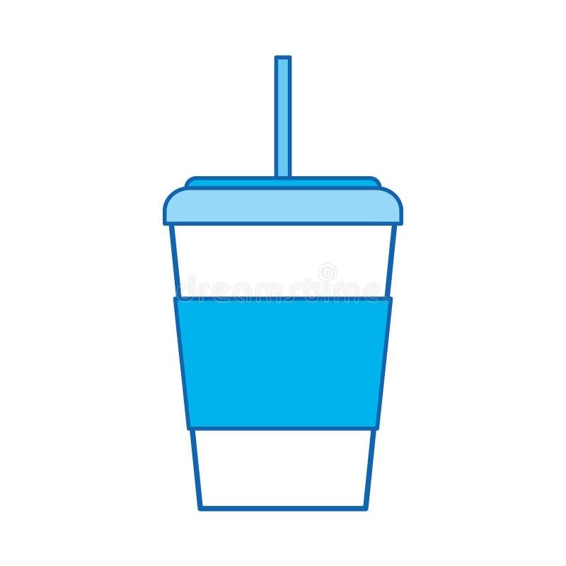 Tazza di caffè eliminabile dell'icona blu illustrazione di stock